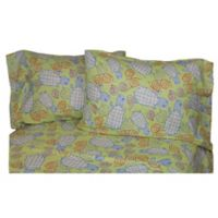 Belle Epoque La Rochelle Collection Turtle Snails Heather Print Flannel King Sheet Set in Sage