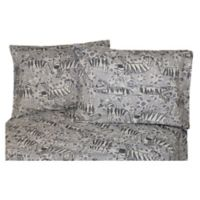 Belle Epoque La Rochelle Collection Zebra Print Heathered Flannel Full Sheet Set in Grey