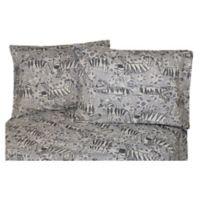 Belle Epoque La Rochelle Collection Zebra Print Heathered Flannel Full Sheet Set in Grey