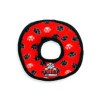 Tuffy® Junior Ring Paw Print Squeaker Dog Toy in Red