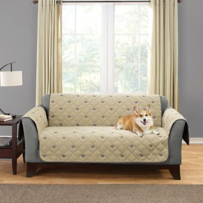Perfect Sure Fit® Deluxe Embroidered Pet Loveseat Cover In Tan
