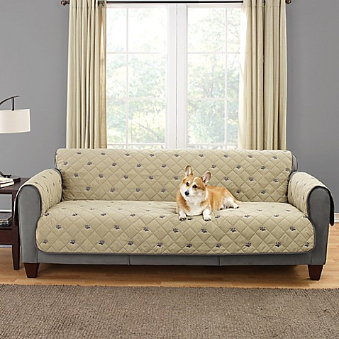 Buy Sure Fit Deluxe Embroidered Pet Sofa Cover In Tan