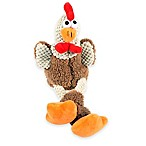 Skinny Mini Rooster Squeaker Dog Toy in Brown/Orange