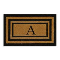 """Nature by Geo Crafts Imperial 24-Inch x 39-inch Triple Border Letter """"A"""" Door Mat in Natural/Black"""