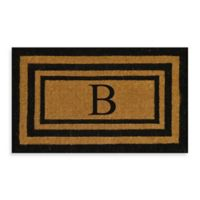"Nature by Geo Crafts Imperial 18-Inch x 30-Inch Triple Border Letter ""B"" Door Mat in Natural/Black"