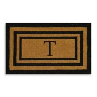 """Nature by Geo Crafts Imperial 18-Inch x 30-inch Triple Border Letter """"T"""" Door Mat in Natural/Black"""