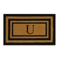 "Nature by Geo Crafts Imperial 39-Inch x 24-inch Triple Border Letter ""U"" Door Mat in Natural/Black"