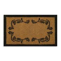 Nature by Geo Crafts Imperial Leaf Border 48-Inch x 30-Inch Doormat in Beige/Black