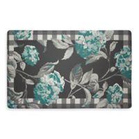 Laura Ashley® Hydrangea 32-Inch x 20-Inch Memory Foam Kitchen Mat in Teal