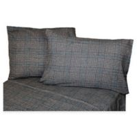 Belle Epoque La Rochelle Collection Plaid Heathered Flannel King Sheet Set in Black