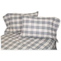 Belle Epoque La Rochelle Collection Plaid Heathered Flannel Queen Sheet Set in Grey/Rose