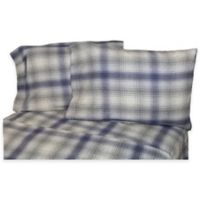 Belle Epoque La Rochelle Collection Plaid Heathered Flannel King Sheet Set in Blue
