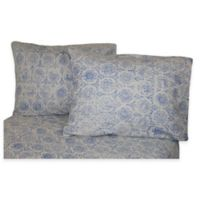 Belle Epoque La Rochelle Collection Floral Print Heathered Flannel Full Sheet Set in Blue/Dark Blue