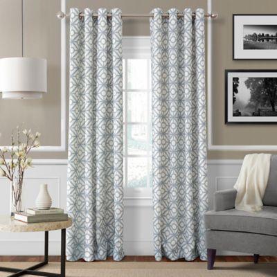 Crackle 95 Inch Grommet Top Window Curtain Panel In Mist Blue