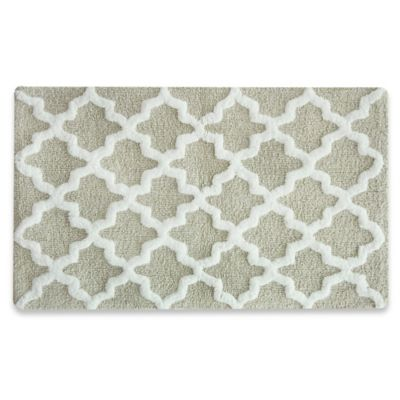 Jessica Simpson 21 Inch X 34 Inch Quatrefoil Bath Rug In Grey/White