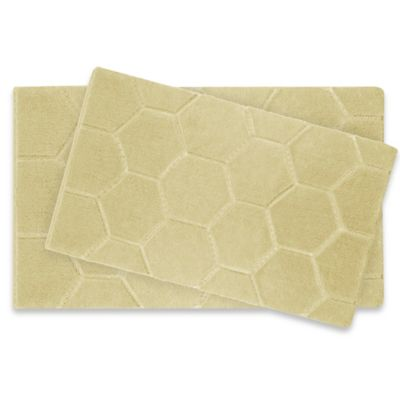 Laura Ashley Pearl Honeycomb Bath Rug In Yellow Set Of 2