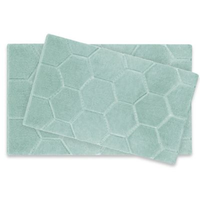 Laura Ashley Pearl Honeycomb Bath Rug In Green Set Of 2