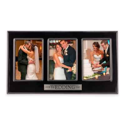 "Grasslands Road® 3-Photo ""Our Wedding Day"" Ceramic Collage Frame in Black"