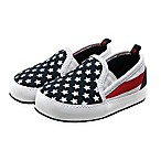 Stepping Stones Size 0-3M Stars and Stripes Slip-On Sneaker in Blue