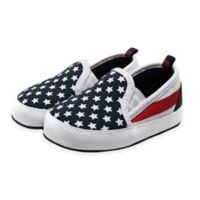 Stepping Stones Size 6-9M Stars and Stripes Slip-On Sneaker in Blue