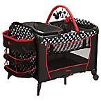 Disney® Sweet Wonder Playard in Black/White/Red Mickey Silhouette