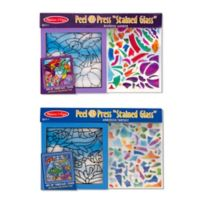 Melissa & Doug® Rainbow Garden and Undersea Fantasy Peel and Press Stained Glass Bundle