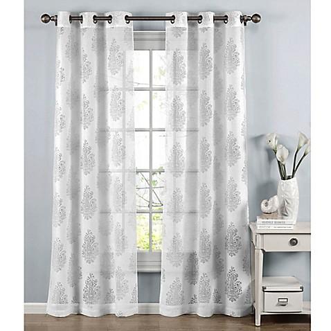 Penelope 84 inch grommet top burnout sheer window curtain panel pair