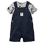 carter's® Newborn 2-Piece Fish Shirt and Shortalls Set in Navy