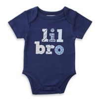 "Mud Pie® Size 6M ""Lil Bro"" Patchwork Bodysuit in Navy"