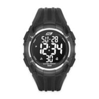 Skechers® Men's 50mm Digital Watch in Black Plastic w/Black Polyurethane Strap