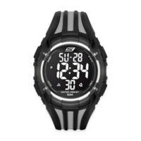 Skechers® Men's 50mm Digital Watch in Black Plastic w/Black and Grey Polyurethane Strap