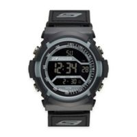 Skechers® Men's 53mm Digital Watch in Black Plastic w/Black Polyurethane Strap