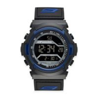 Skechers® Men's 53mm Grey Digital Watch in Black Plastic w/Black and Blue Polyurethane Strap