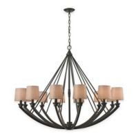 ELK Lighting Morrison 12-Light Chandelier in Oil-Rubbed Bronze with Linen Shade