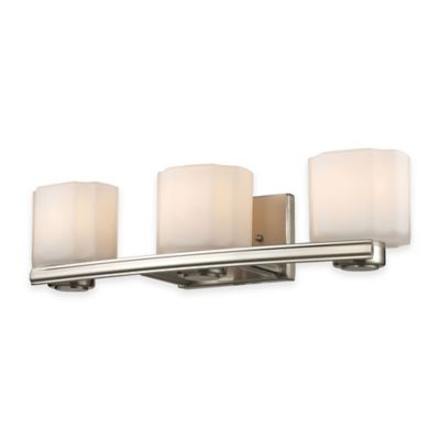 ELK Lighting New Haven 3-Light Wall-Mount Vanity Fixture in Brushed Nickel with Frosted Glass ...