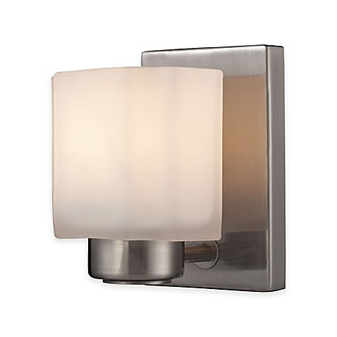 Wall Mounted Fixture Symbol : ELK Lighting New Haven Wall-Mount Vanity Fixtures in Brushed Nickel with Frosted Glass Shade ...