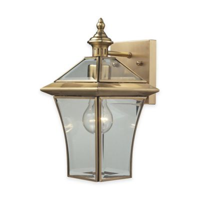 Wall Lamps Bed Bath Beyond : ELK Lighting Riverdale Outdoor Wall-Mount Sconce in Brushed Brass - Bed Bath & Beyond