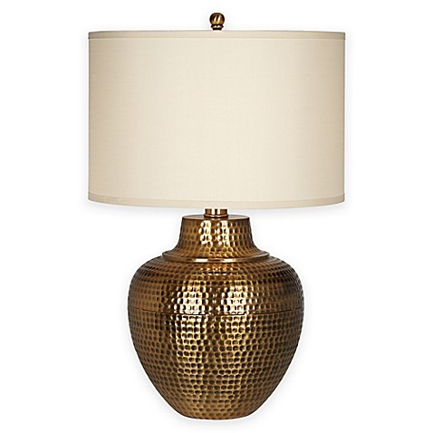 Pacific coast lighting maison loft table lamp in antique brass with linen shade