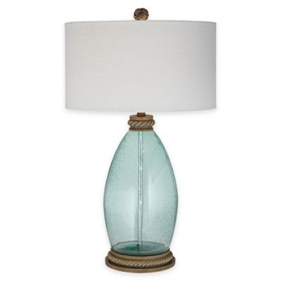 Pacific coast lighting blue lagoon table lamp in blue with drum shade