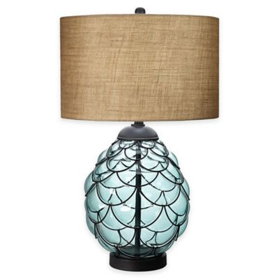 Pacific Coast® Lighting Pacific Glass Table Lamp In Blue With Drum Shade