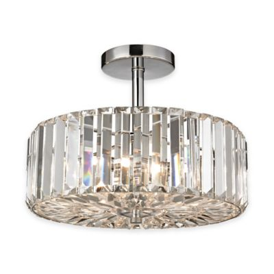 Elk lighting clearview 3 light semi flush mount in polished chrome