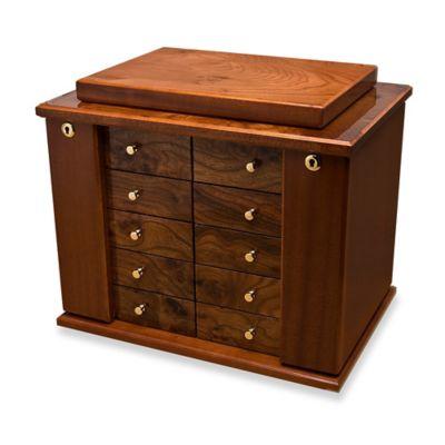 High Polished 8 Drawer Burlwood Jewelry Box In Brown
