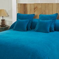 Mélange Chenille King Coverlet in Reef Blue
