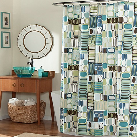 Mstyle Mod Blocks Shower Curtain In Blue