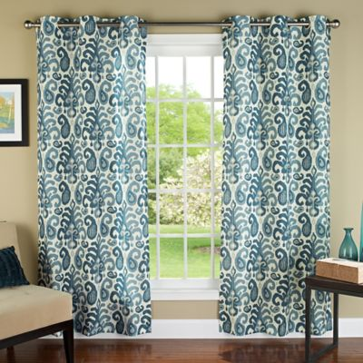 M.style Ikat Plume 84 Inch Grommet Top Window Curtain Panel Pair In Teal