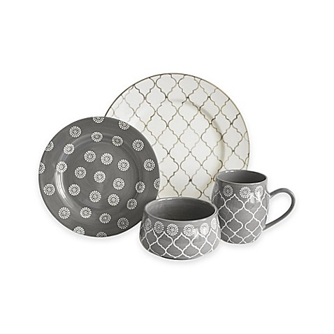 baum moroccan 16 piece dinnerware set in grey ivory bed bath beyond. Black Bedroom Furniture Sets. Home Design Ideas