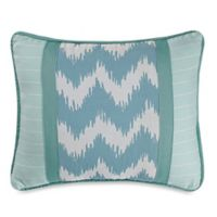 HiEnd Accents Catalina Chevron and Stripes Boudoir Throw Pillow in Aqua/White