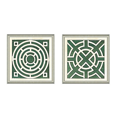 image of Framed Giclée Green Garden Plan Art Print Wall Art