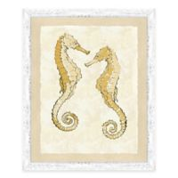 Framed Giclèe Yellow Double Seahorse Print