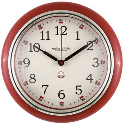 Sterling U0026 Noble Retro Diner Wall Clock In Red